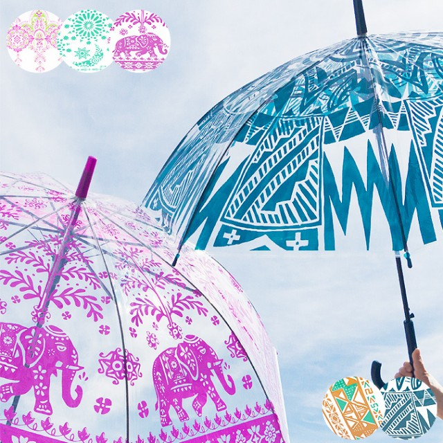 エスニック ビニール 傘 雨傘 かわいい おしゃれ レディース メンズ ネイティブ ゾウ アジアン雑貨 エスニック雑貨 長傘