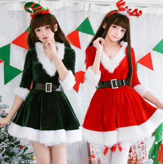 クリスマス サンタコス 衣装 パーティー衣装 二枚...
