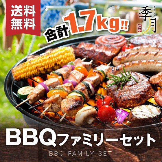 バーベキュー 焼肉 ファミリーセット 牛カルビ 厚切りハラミ ホルモン 豚肉 鶏肉 合計1.7kg 約5人前