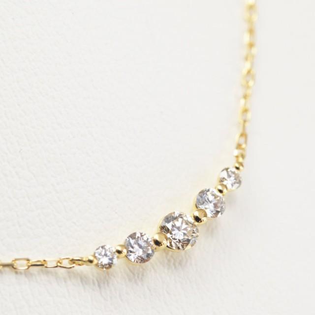 K18金 ダイヤモンド ライン ネックレス イエロー...