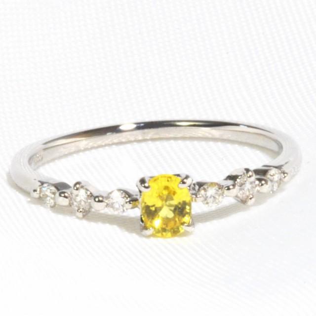 プラチナ 900 イエローサファイヤ ダイヤモンド ...