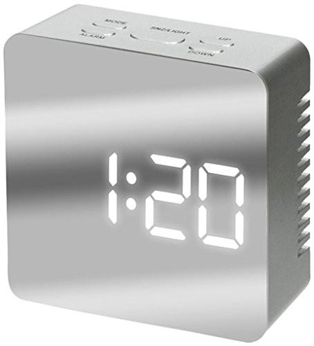 アイリスプラザ 目覚まし時計 LED ミラークロック...