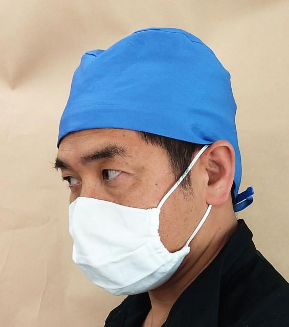 8010-08 手術帽子・後ヒモ式 ブルー 1枚入り(...