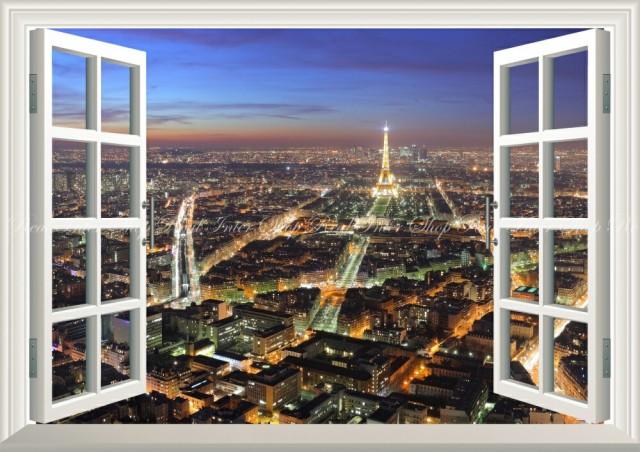 絵画風 壁紙ポスター  パリの夜景 エッフェル塔 ...