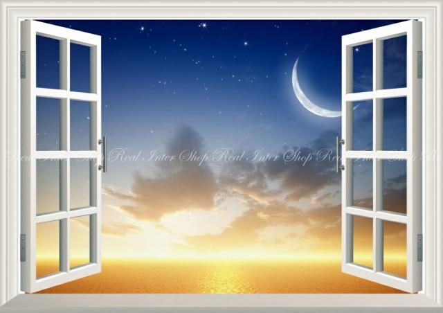 絵画風 壁紙ポスター  日没の地平線と三日月 サン...