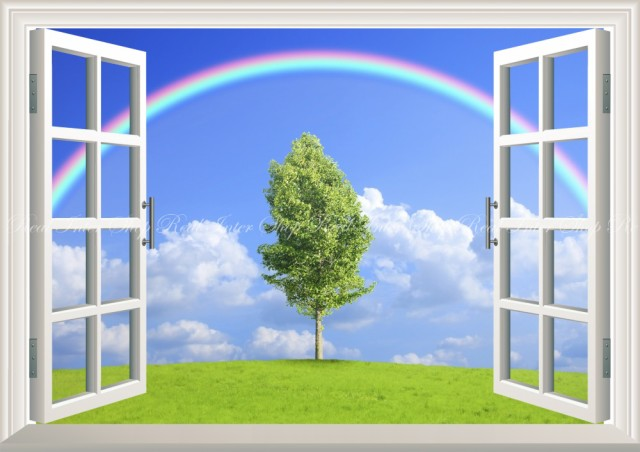 絵画風 壁紙ポスター  虹と空と雲と緑のハーモニ...