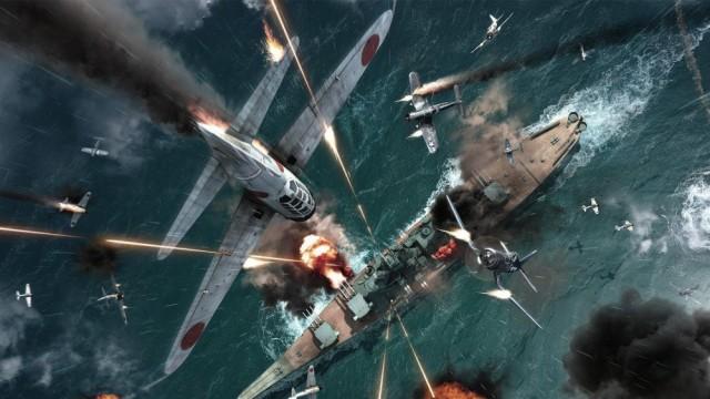 絵画風 壁紙ポスター ゼロ戦 戦闘機空中戦 戦艦 ...