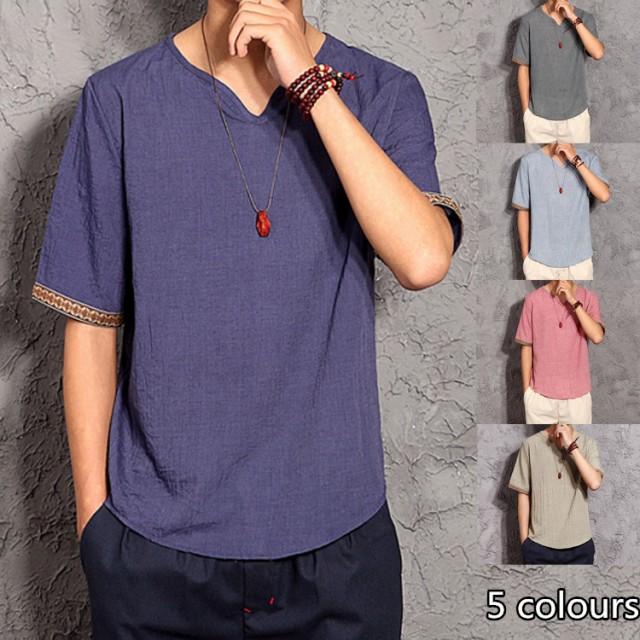 リネンTシャツメンズ カジュアルシャツ Vネック...