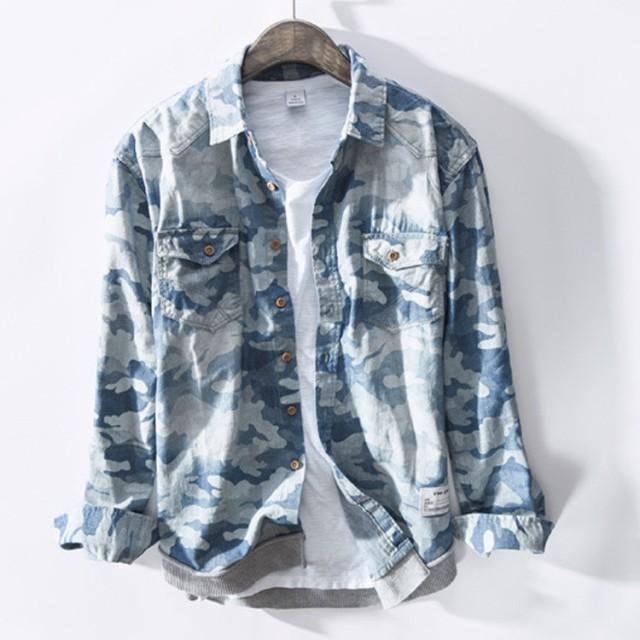 デニムシャツ ゆったりシャツ 迷彩柄シャツ 長袖...