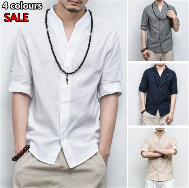 リネンシャツ カジュアルシャツ Vネックシャツ ...