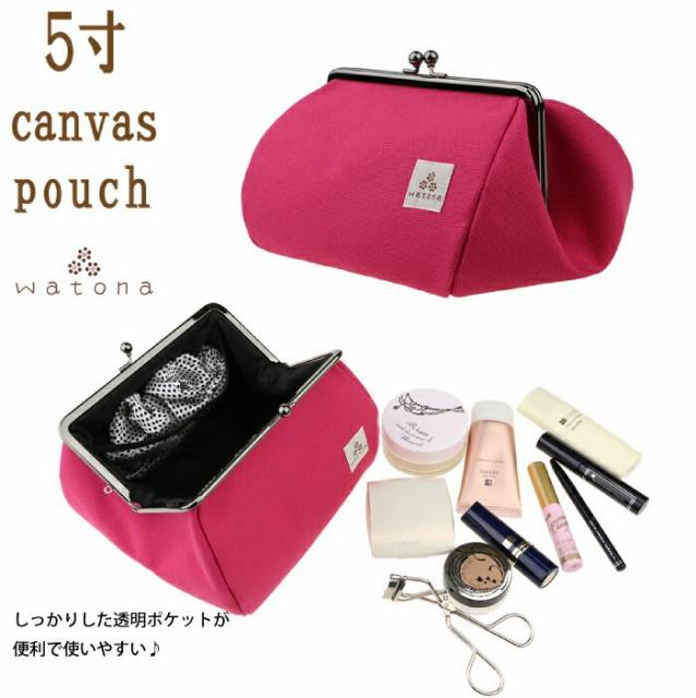 Made in Japan!watona 帆布 がま口化粧ポーチ ...