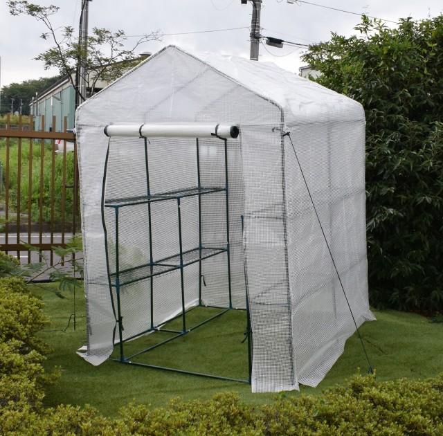園芸用菜園ハウス 中 長さ143×幅143×高さ195cm ...