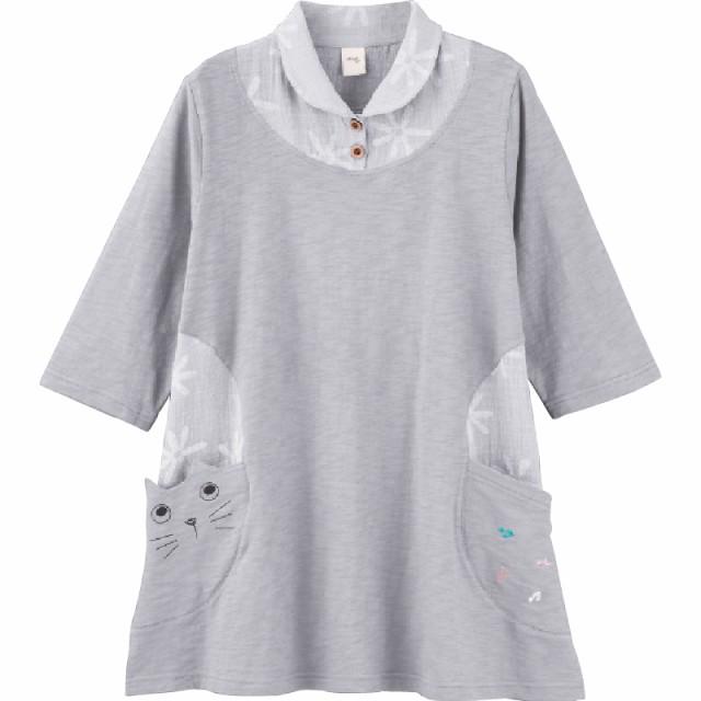 婦人7分袖カット衿付猫柄チュニック