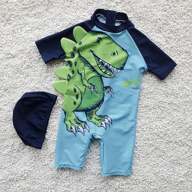恐竜柄 男の子オールインワン水着 可愛い連体水着...