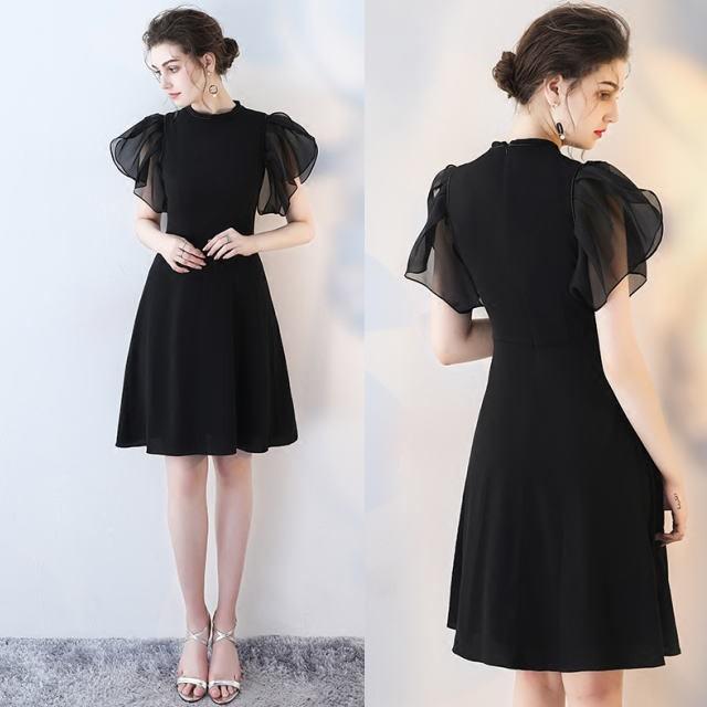 ラッフル袖◆上品可愛い ブラックドレス プチプ...