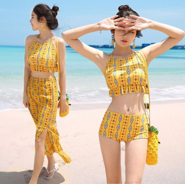 ビーチで目立つ黄色 ボヘミアン風 3点セット水着 ...