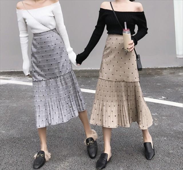 ドット柄 グレンチェック スカート 韓国 ファッション カジュアル ガーリー 服 プリーツ ロングスカート きれいめ 大人