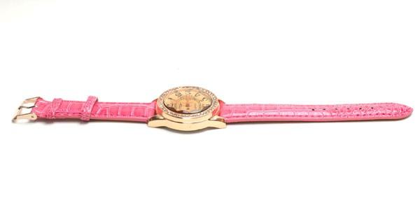 腕時計  ビッグサークルタイプ  ピンク革ベル...