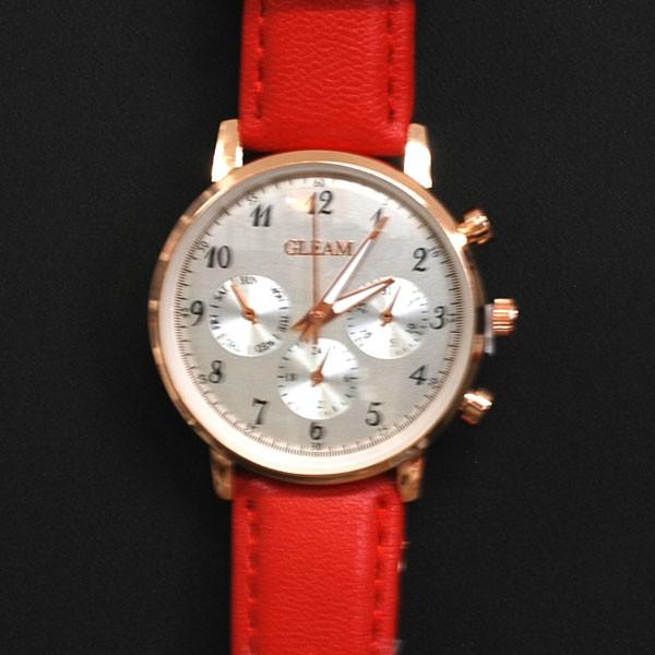 腕時計  ビッグサークルタイプ  レッド革ベル...