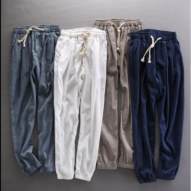 夏メンズ綿麻パンツ6色/通気性良いゆったりサルエ...