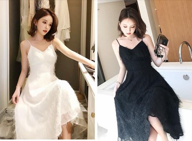 ロングドレス 2色 ホワイト ブラック 無地 ビス...