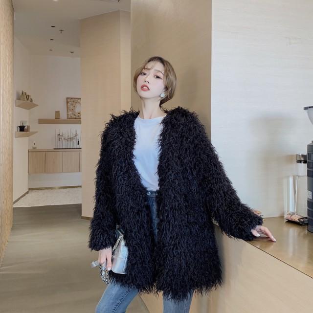 ふわもこジャケットコート 2色 ブラック ホワイ...