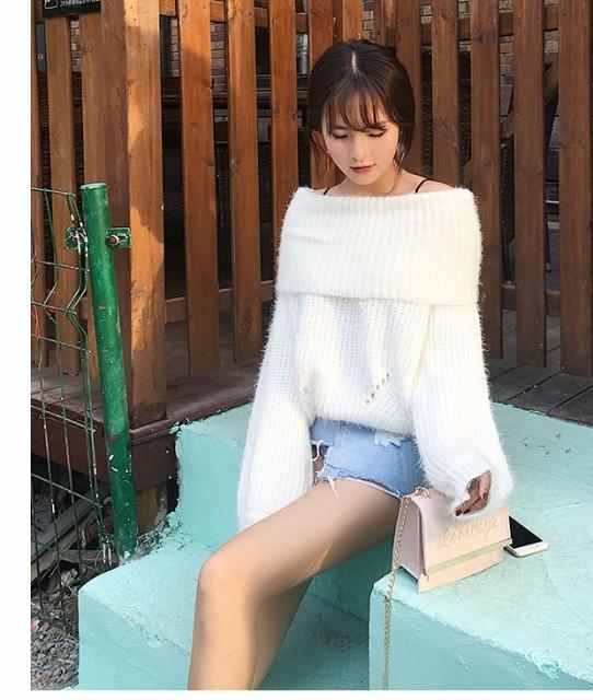 ゆるかわニットセーター 10色 ホワイト レンガ グ...