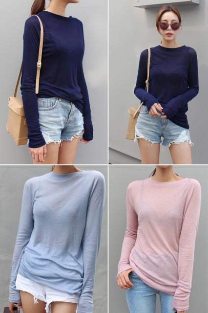 長袖ロングシャツ 5色 ピンク ブルー ネイビー ...