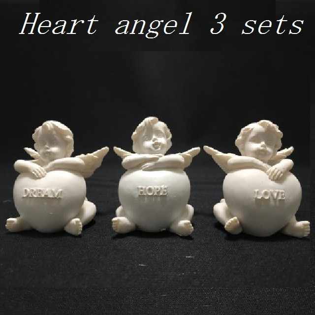 ハート天使3ヶセット(樹脂製)☆代引き手数料無料...