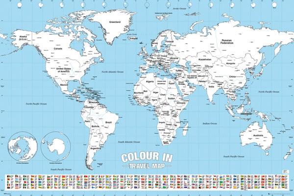 世界地図 白地図 色塗り ポスター (英語表記...