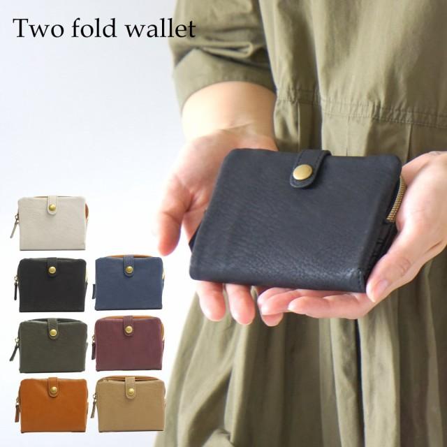 財布 レディース 二つ折り ファスナー 合皮 薄い ...