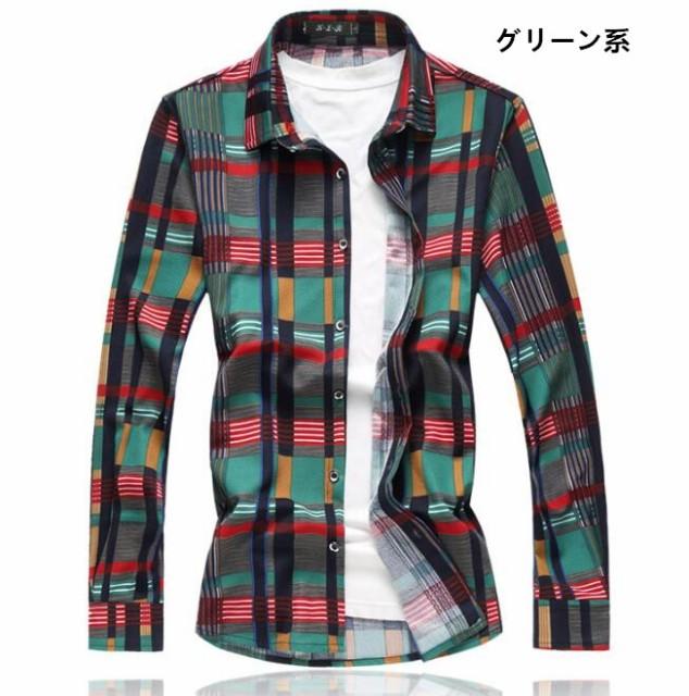 人気美品  メンズ  チェック柄  シャツ  長袖  カ...