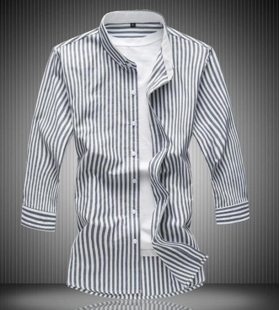 爆品 メンズ ストライプ柄 シャツ 7分袖 カジュア...