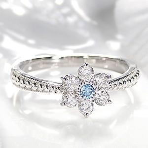 pt900 フラワーモチーフ ブルーダイヤモンド リン...