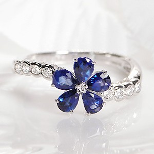 pt900 ブルーサファイア ダイヤモンド フラワーモ...