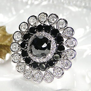 K18WG ブラックダイヤモンド & ダイヤモンド リ...