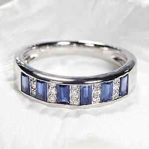 pt900 ブルーサファイア ダイヤモンド リング ジ...