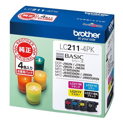 ブラザー  インクカートリッジ LC211−4P...