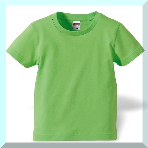 質実剛健、ジュニアサイズ綿100%Tシャツ・ライム...