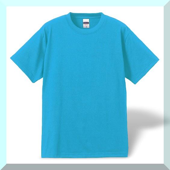 質実剛健、綿100%Tシャツ・アクア:M