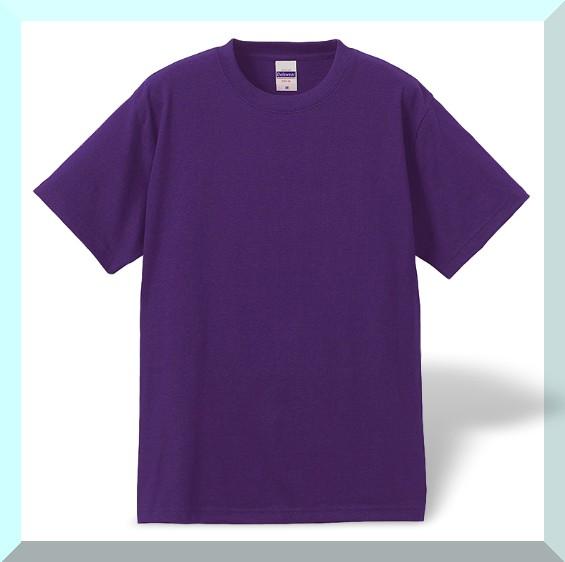 質実剛健、綿100%Tシャツ・紫色:L