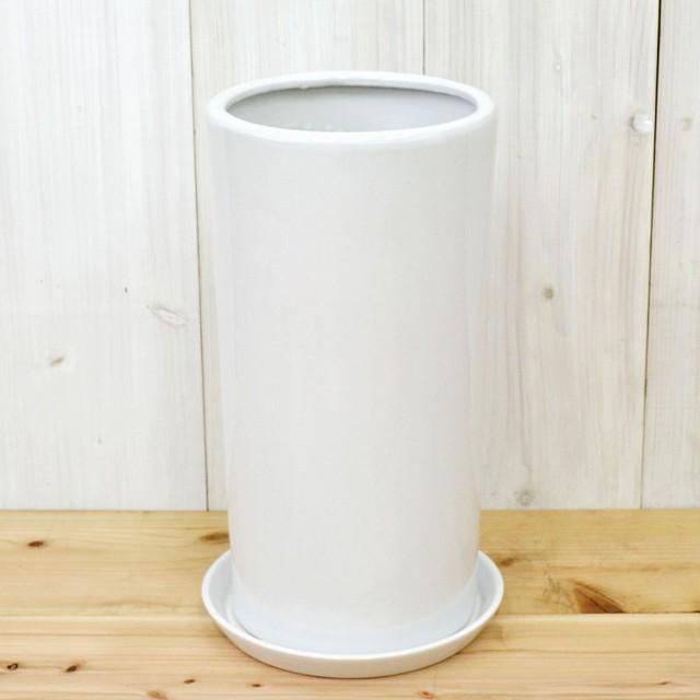 円柱形陶器鉢L ホワイト 8号サイズ