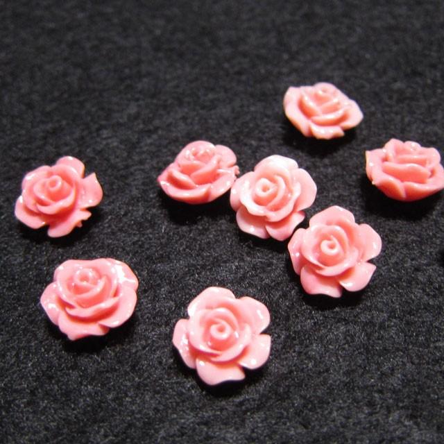 天然石 ピンク珊瑚 薔薇10mmAAA(横穴貫通)2コ...
