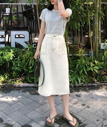 デニムミディアムタイトスカート ホワイト