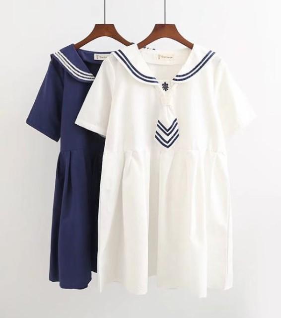 乃木坂風セーラーカラー半袖ゆったり切り替えミニ...