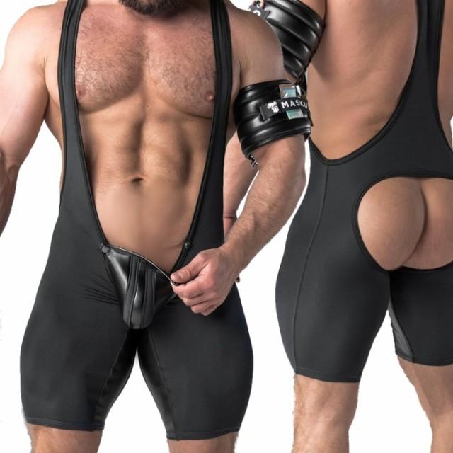 シングレット 男性下着 ボディスーツ 一体型セク...