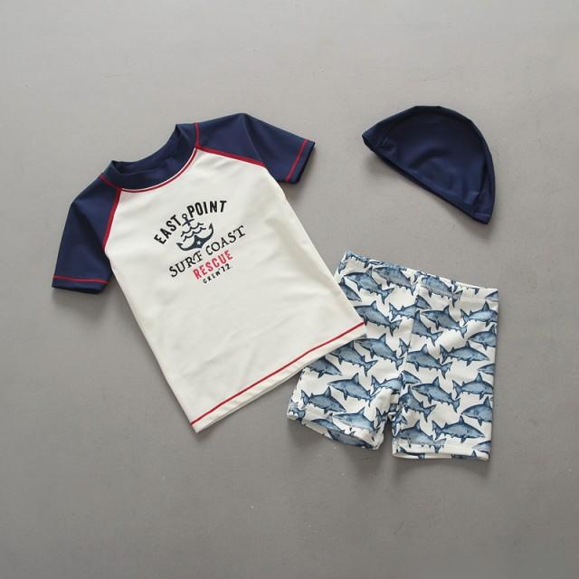 韓国 大人気  UV 男の子 水着 子供 キッズ ベビー 3点セット 可愛い 体型カバー 水泳 セパレート 帽子付き 子供水着 男児 スイムウエア