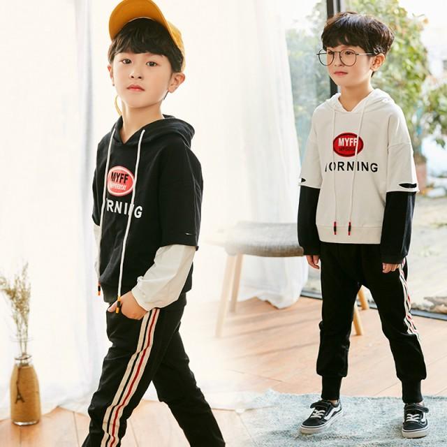 韓国子供服  2点セット フード付き 長袖パーカー...