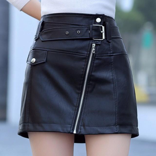 ブラック PU革スカート レザースカート ミニスカ...