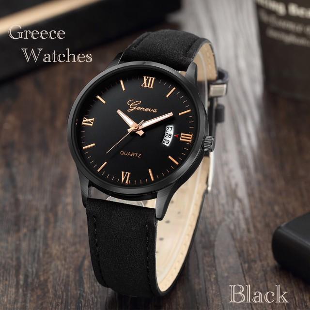 2 腕時計 時計 ギリシャ文字 スエード レザーベ...